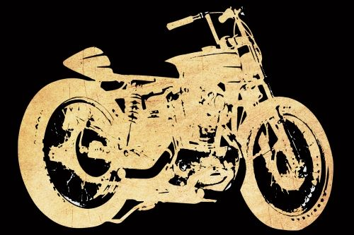 Glass Wall Art Retro motorcycle, Glowing in the dark, 60 x 90 cm
