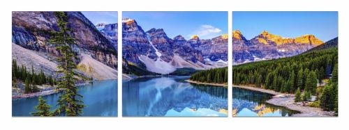 Glass Wall Art Mountain lake, Glowing in the dark, Set of 3, 60 x 180 cm (3 panels 60 x 60 cm)
