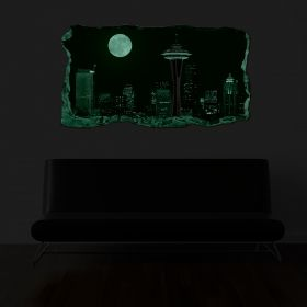 3D Mural Wall Art The full moon window, Glowing in the dark, 1.50 x 0.82 m