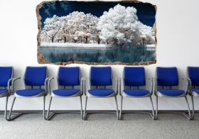 3D Mural Wall Art Trees in the fog, Glowing in the dark, 1.50 x 0.82 m