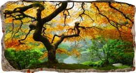 3D Mural Wall Art Autumn maple, Glowing in the dark, 1.50 x 0.82 m