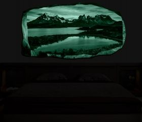 3D Mural Wall Art Mountain lake, Glowing in the dark, 1.50 x 0.82 m