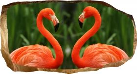 3D Mural Wall Art Flamingo, Glowing in the dark, 1.50 x 0.82 m