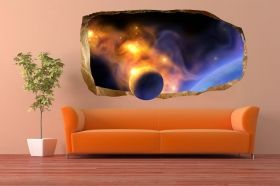 3D Mural Wall Art A planet in the room, Glowing in the dark, 1.50 x 0.82 m