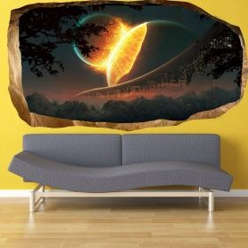 3D Mural Wall Art Another world, Glowing in the dark, 1.50 x 0.82 m