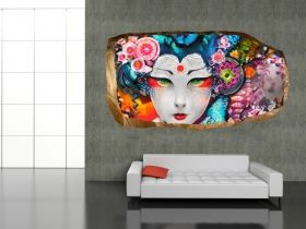 3D Mural Wall Art Japanese, Glowing in the dark, 1.50 x 0.82 m