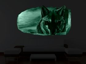 3D Mural Wall Art Wolf, Glowing in the dark, 1.50 x 0.82 m