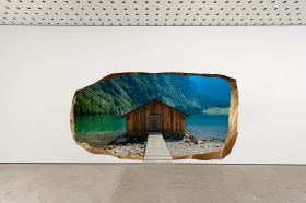 3D Mural Wall Art Chalet on the lake, Glowing in the dark, 1.50 x 0.82 m