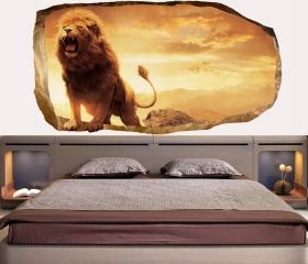 3D Mural Wall Art Lion, Glowing in the dark, 1.50 x 0.82 m