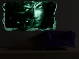3D Mural Wall Art Magic eyes, Glowing in the dark, 1.50 x 0.82 m