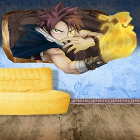 3D Mural Wall Art The boy of fire, Glowing in the dark, 1.50 x 0.82 m