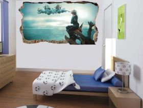 3D Mural Wall Art A woman's dream, Glowing in the dark, 1.50 x 0.82 m