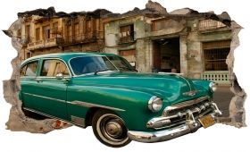 3D Mural Wall Art Green car in Havana, Glowing in the dark, 1.50 x 0.82 m