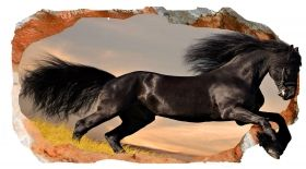 3D Mural Wall Art Black horse, Glowing in the dark, 1.50 x 0.82 m