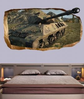 3D Mural Wall Art Tank, Glowing in the dark, 1.50 x 0.82 m