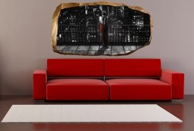 3D Mural Wall Art The woman in red, Glowing in the dark, 1.50 x 0.82 m