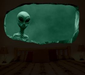 3D Mural Wall Art Extra-terrestrial, Glowing in the dark, 1.50 x 0.82 m