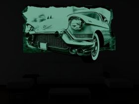 3D Mural Wall Art Vintage car, Glowing in the dark, 1.50 x 0.82 m