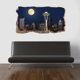 3D Mural Wall Art The full moon window, Glowing in the dark, 2.20 x 1.20 m
