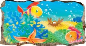 3D Mural Wall Art The fish window, Glowing in the dark, 2.20 x 1.20 m