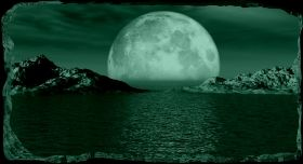 3D Mural Wall Art Moon over the water, Glowing in the dark, 2.20 x 1.20 m