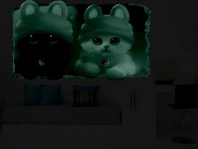 3D Mural Wall Art Kitten, Glowing in the dark, 2.20 x 1.20 m