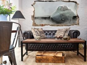 3D Mural Wall Art Fighting plane, Glowing in the dark, 2.20 x 1.20 m
