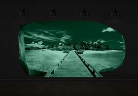3D Mural Wall Art Bridge to the island, Glowing in the dark, 2.20 x 1.20 m