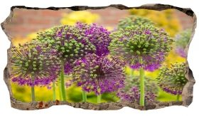 3D Mural Wall Art Purple flowers, Glowing in the dark, 2.20 x 1.20 m