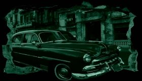 3D Mural Wall Art Green car in Havana, Glowing in the dark, 2.20 x 1.20 m