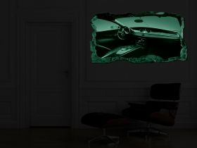 3D Mural Wall Art Bugatti, Glowing in the dark, 2.20 x 1.20 m