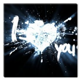 Canvas Wall Art I Love You, Glowing in the dark, 80 x 80 cm