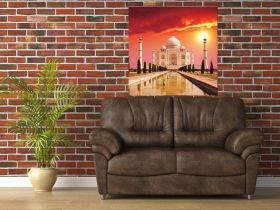 Canvas Wall Art Taj Mahal, Glowing in the dark, 80 x 80 cm