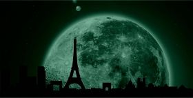 Canvas Wall Art Paris under the moonlight, Glowing in the dark, 60 x 120 cm