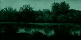 Canvas Wall Art Summer lake, Glowing in the dark, 60 x 120 cm