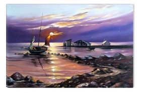 Canvas Wall Art Boat on the shore, Glowing in the dark, 60 x 90 cm