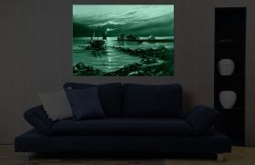 Canvas Wall Art Boat on the shore, Glowing in the dark, 80 x 120 cm