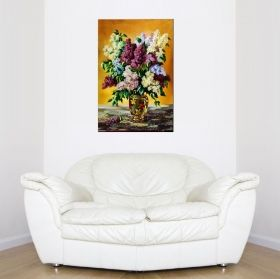 Tablou Liliac multicolor, luminos in intuneric, 80 x 120 cm