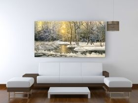Canvas Wall Art Winter on the lake, Glowing in the dark, 60 x 120 cm