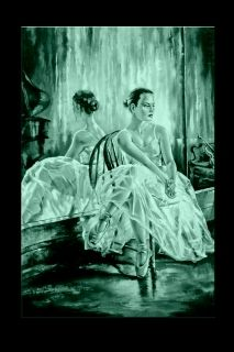 Canvas Wall Art The ballerina beside the mirror, Glowing in the dark, 60 x 90 cm