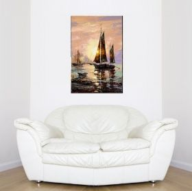 Canvas Wall Art Sailboat, Glowing in the dark, 60 x 90 cm