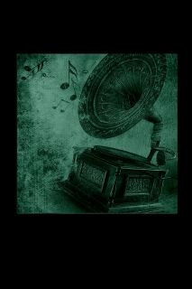 Canvas Wall Art Gramophone, Glowing in the dark, 80 x 80 cm