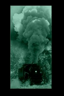 Canvas Wall Art Steam train, Glowing in the dark, 60 x 120 cm