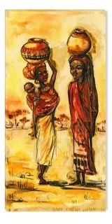 Canvas Wall Art African women, Glowing in the dark, 60 x 120 cm
