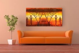 Canvas Wall Art African theme, Glowing in the dark, 60 x 120 cm