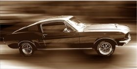 Canvas Wall Art Ford Mustang, Glowing in the dark, 60 x 120 cm