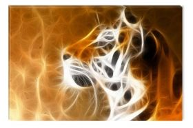 Canvas Wall Art Tiger head, Glowing in the dark, 60 x 90 cm