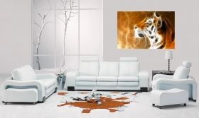 Canvas Wall Art Tiger head, Glowing in the dark, 80 x 120 cm