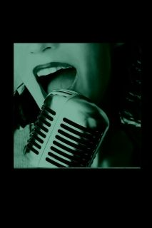 Canvas Wall Art The retro singer, Glowing in the dark, 80 x 80 cm