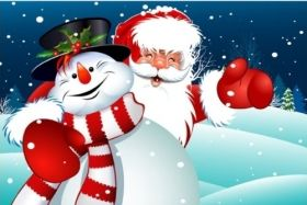 Canvas Wall Art Santa and the Snowman, Glowing in the dark, 60 x 90 cm